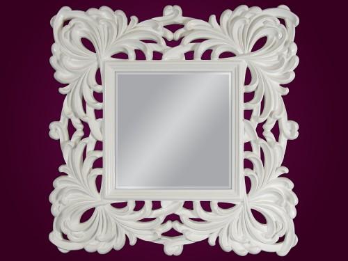 Białe Lustro Dekoracyjne Kwadratowe 100x100