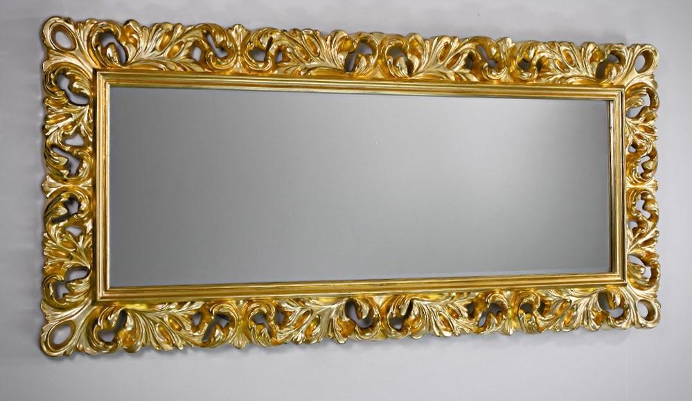 Chłodny Duże złote lustro z ramą ażurową 188x88 Lustra Smaza PO97