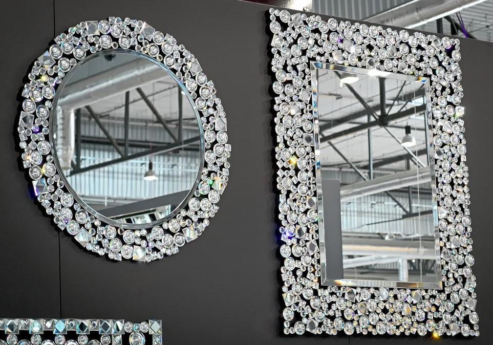 Dekoracyjne Lustro W Kryształowej Ramie 80x100